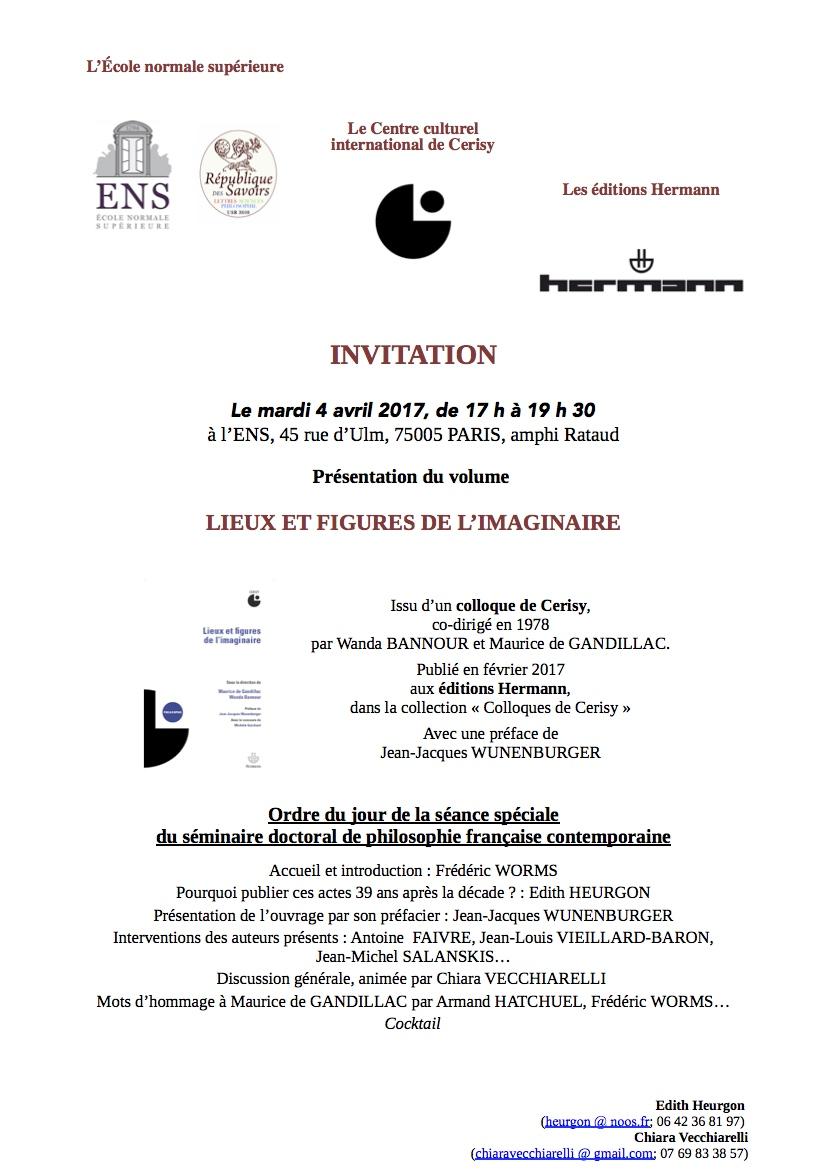4 avril Lieux et figures de l'imaginaire - ENS - affiche